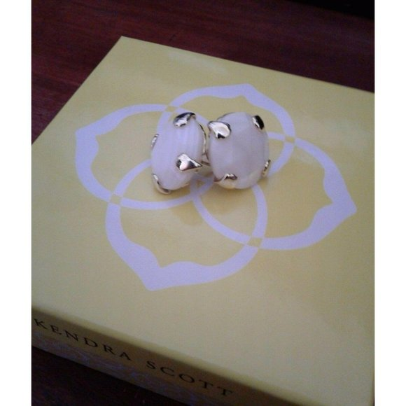 Kendra Scott Hillary White Mother of Pearl Studs